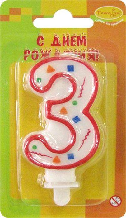 Пати Бум Свеча для торта Цифра 3 Конфетти цвет красный