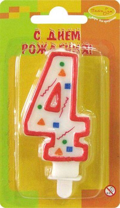 Пати Бум Свеча для торта Цифра 4 Конфетти цвет красный