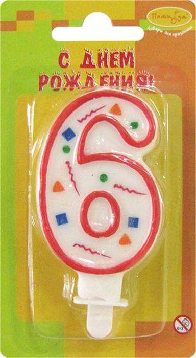 Пати Бум Свеча для торта Цифра 6 Конфетти цвет красный