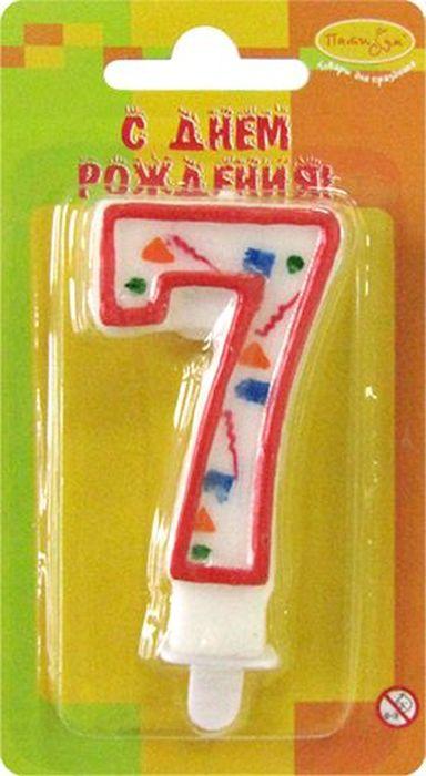 Пати Бум Свеча для торта Цифра 7 Конфетти цвет красный