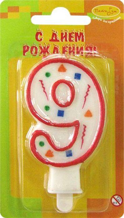 Пати Бум Свеча для торта Цифра 9 Конфетти цвет красный пати бум свеча для торта цифра 7 конфетти цвет красный