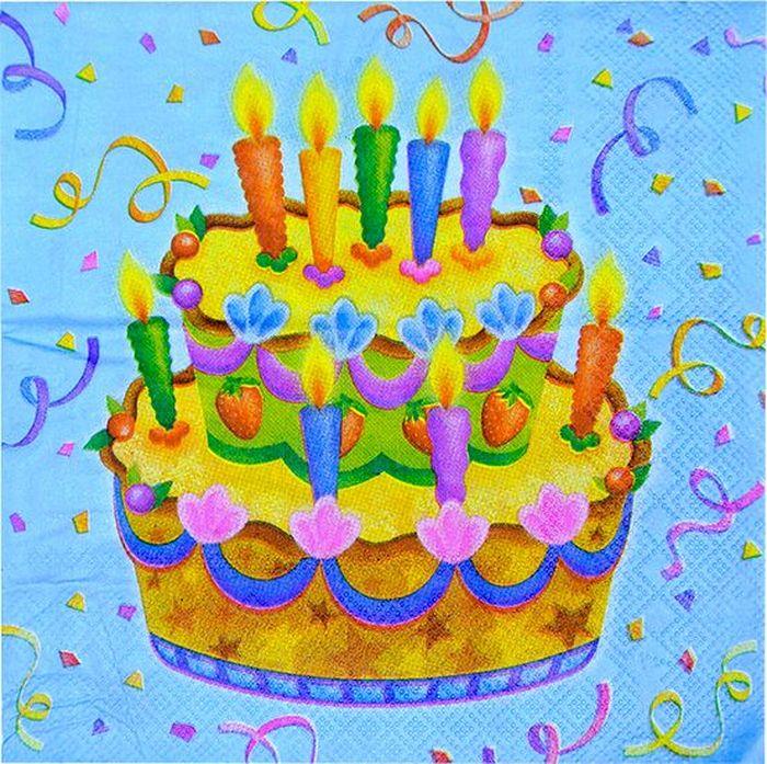 Пати Бум Салфетки Праздничный торт 20 шт пати бум набор свечей коктейльные 20 см 20 шт