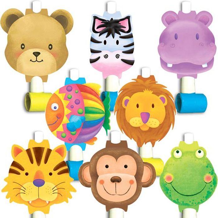 Пати Бум Язык-гудок с карточкой Забавные зверята 8 шт пати бум язык гудок с карточкой моя принцесса 6 шт