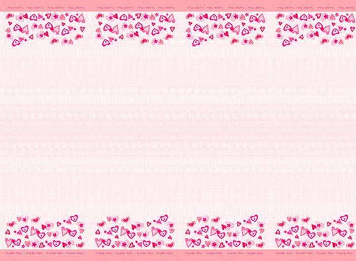 """Скатерть полиэтиленовая, размером 140х180 см. Данная скатерть входит в состав  коллекции праздничной одноразовой посуды """"Сердечки I love you"""" и лучше всего  использовать ее для сервировки праздничного стола вместе с другими  элементами из этой коллекции (тарелочки, стаканчики и карнавальные аксессуары  коллекции """"Сердечки I love you"""")."""