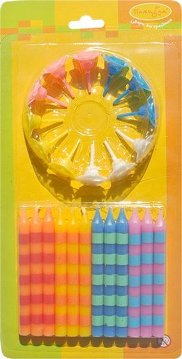 Пати Бум Набор свечей для торта Полоска с держателями 6 см 12 шт пати бум набор свечей для торта перламутр с держателями цвет белый 6 см 12 шт
