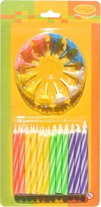 Пати Бум Набор свечей для торта Двухцветные с держателями 6 см 24 шт товары для праздника поиск свечи для торта с держателями мини 24 шт