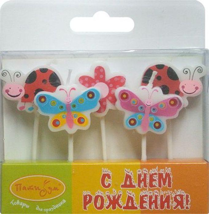 Пати Бум Набор свечей Бабочки и Божьи коровки 5 шт набор эм 124 4ап2 бабочки п 1148051
