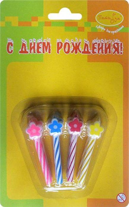 Пати Бум Набор свечей для торта Цветочки 8 шт