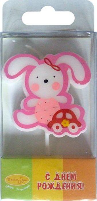 Пати Бум Свеча для торта Зайка цвет розовый