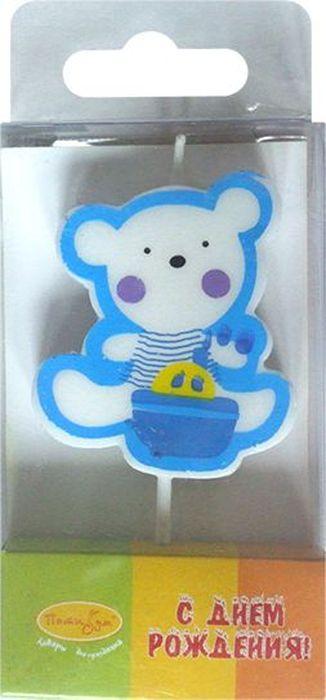 Пати Бум Свеча для торта Мишка цвет голубой пати бум свеча для торта мини цифра 8