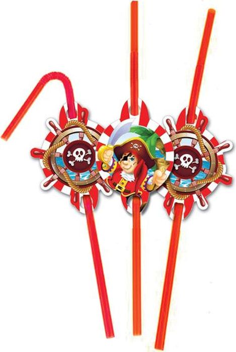Пати Бум Набор трубочек Веселый Пират 6 шт страна карнавалия набор трубочек для коктейля веселый праздник 2 шт