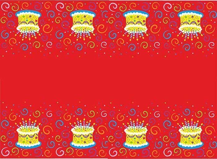 """Скатерть полиэтиленовая, размером 140х180 см. Данная скатерть входит в состав  коллекции праздничной одноразовой посуды """"Торт яркий"""" и лучше всего  использовать ее для сервировки праздничного стола вместе с другими  элементами из этой коллекции (тарелочки, стаканчики и карнавальные аксессуары  коллекции """"Торт яркий"""")."""