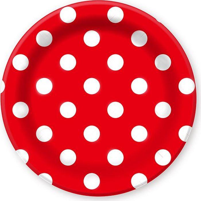 Пати Бум Тарелка бумажная Горошек цвет красный 6 шт