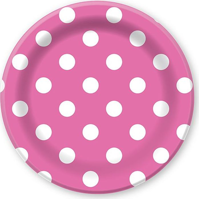 Пати Бум Тарелка Горошек на розовом 23 см 6 шт - Сервировка праздничного стола