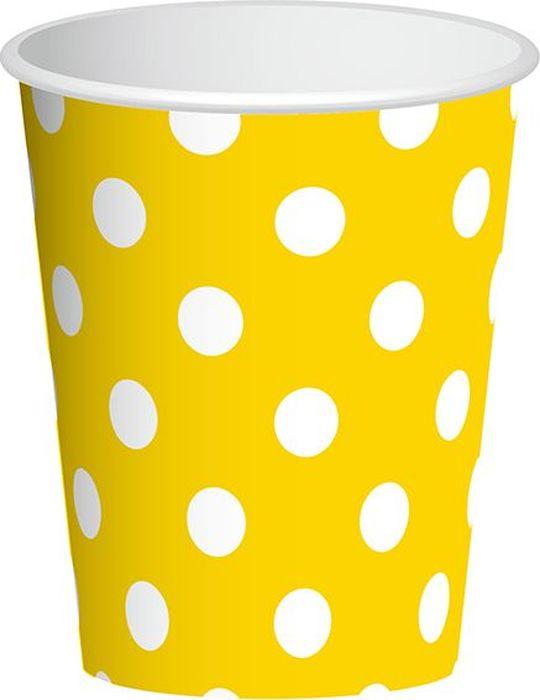 Пати Бум Набор стаканов Горошек цвет желтый 250 мл 6 шт пати бум набор трубочек веселый пират цвет синий 6 шт