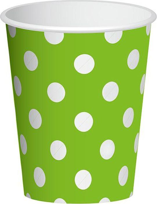 Пати Бум Набор стаканов Горошек цвет зеленый 250 мл 6 шт пати бум набор трубочек веселый пират цвет синий 6 шт