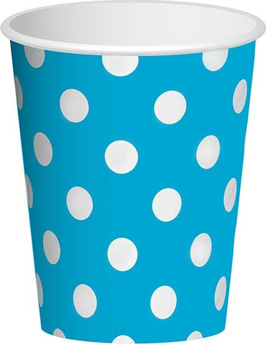 Пати Бум Набор стаканов Горошек цвет голубой 250 мл 6 шт набор одноразовых стаканов buffet biсolor цвет оранжевый желтый 200 мл 6 шт