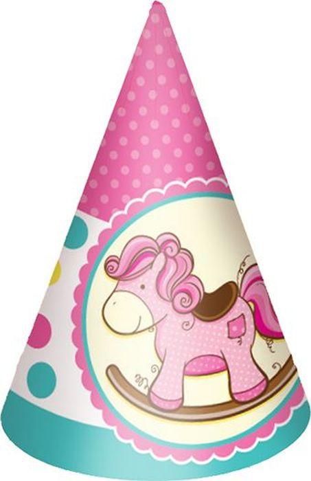 Пати Бум Колпак Лошадка Малыш цвет розовый 6 шт пати бум салфетки горошек цвет красный 12 шт
