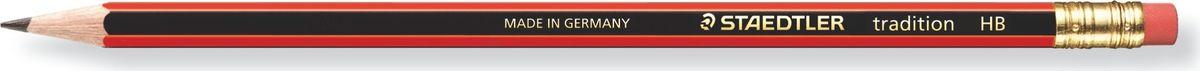 Staedtler Карандаш Tradition HB с ластиком112-HBЧернографитовый карандаш с ластиком и шестигранной формой корпуса для письма, черчения и набросков. Степень твердости - HB (твердо-мягкий). Диаметр грифеля - 2 мм. Непревзойденная устойчивость к поломке благодаря специально разработанному составу грифеля и особой проклейке.