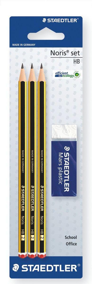 Staedtler Карандаш Noris HB с ластиком 3 шт120RBK3DВысококачественный карандаш для письма, черчения и набросков. Идеально для школы и офиса. Непревзойденная устойчивость к поломке благодаря специально разработанному составу грифеля и особой проклейке. При производстве используется древесина сертифицированнных и специально подготовленных лесов. Упаковка 3 шт. + ластик. Степень твердости - HB (твердо-мягкий); диаметр грифеля - 2 мм.