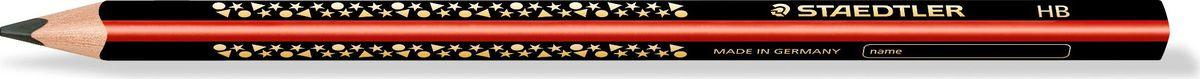 Staedtler Карандаш Jumbo HB1285-2Высококачественный карандаш для учебы Jumbo эргономичной трехгранной формы для удобного и легкого письма. Идеально для первых упражнений в письме и рисовании. Привлекательный дизайн Звезды с полем для имени. Непревзойденная устойчивость к поломке благодаря специально разработанному составу грифеля и особой проклейке. Грифель HB (твердо-мягкий). Диаметр грифеля - 3 мм.