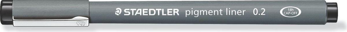 Staedtler Ручка капиллярная Pigment Liner 0,2 мм цвет чернил черный30802-9Капиллярная ручка с корпусом из полипропилена идеальна для письма, набросков и черчения, стирается с кальки, не размазывается привыделении текстовыделителем. Удлиненный металлический узел идеален для работы с линейками и шаблонами. Пигментные чернила,несмываемые, свето- и водоустойчивые. Можно оставить без колпачка на 18 часов и не опасаться высыхания.