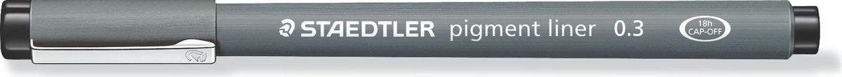 Staedtler Ручка капиллярная Pigment Liner 0,3 мм цвет чернил черный30803-902Капиллярная ручка с корпусом из полипропилена идеальна для письма, набросков и черчения, стирается с кальки, не размазывается при выделении текстовыделителем. Удлиненный металлический узел идеален для работы с линейками и шаблонами. Пигментные чернила, несмываемые, свето- и водоустойчивые. Можно оставить без колпачка на 18 часов и не опасаться высыхания.