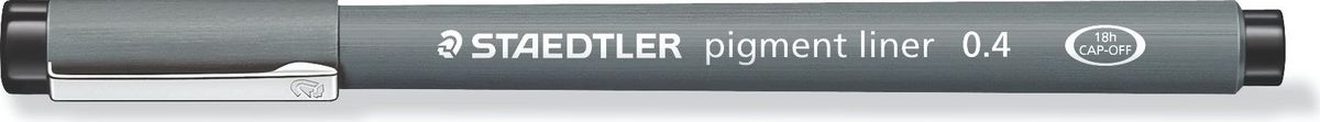 Staedtler Ручка капиллярная Pigment Liner 0,4 мм цвет чернил черный30804-902Капиллярная ручка с корпусом из полипропилена идеальна для письма, набросков и черчения, стирается с кальки, не размазывается при выделении текстовыделителем. Удлиненный металлический узел идеален для работы с линейками и шаблонами. Пигментные чернила, несмываемые, свето- и водоустойчивые. Можно оставить без колпачка на 18 часов и не опасаться высыхания.