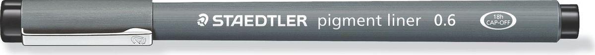 Staedtler Ручка капиллярная Pigment Liner 0,6 мм цвет чернил черный30806-9Капиллярная ручка с корпусом из полипропилена идеальна для письма, набросков и черчения, стирается с кальки, не размазывается при выделении текстовыделителем. Удлиненный металлический узел идеален для работы с линейками и шаблонами. Пигментные чернила, несмываемые, свето- и водоустойчивые. Можно оставить без колпачка на 18 часов и не опасаться высыхания.