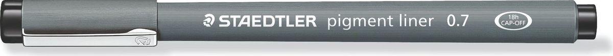 Staedtler Ручка капиллярная Pigment Liner 0,7 мм цвет чернил черный30807-9Капиллярная ручка серии pigment liner 308. Цвет черный. Толщина линии - 0,7 мм. Капиллярные ручки 308 серии идеальны для письма, набросков и черчения. Удлиненный металлический узел идеален для работы с линейками и шаблонами. Пигментные чернила, несмываемые, свето- и водоустойчивые. Стирается с кальки, не размазывается при выделении текстовыделителем. Можно оставить без колпачка на 18 часов и не опасаться высыхания. Корпус из пропилена гарантирует долгий срок службы.