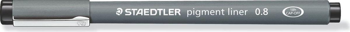 Staedtler Ручка капиллярная Pigment Liner 0,8 мм цвет чернил черный30808-9Капиллярная ручка с корпусом из полипропилена идеальна для письма, набросков и черчения, стирается с кальки, не размазывается при выделении текстовыделителем. Удлиненный металлический узел идеален для работы с линейками и шаблонами. Пигментные чернила, несмываемые, свето- и водоустойчивые. Можно оставить без колпачка на 18 часов и не опасаться высыхания.