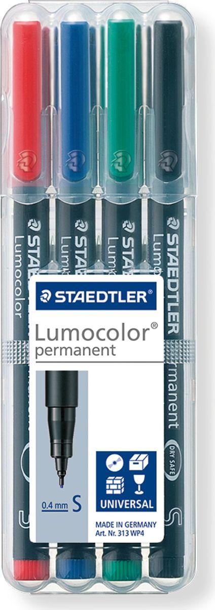 Staedtler Маркер перманентный Lumocolor 0,4 мм цвет чернил красный черный синий зеленый 4 шт313WP4Набор перманентных универсальных маркеров для большинства поверхностей. Толщина линии - S, приблизительно 0,4 мм. 4 цвета: красный, черный, синий, зеленый в пластиковой коробке-подставке Staedtler. Подходит для работы с проекторами и на CD/DVD. Превосходная защита от смазывания и водоустойчивые характеристики на большинстве гладких поверхностей. Высыхает в считанные секунды, что делает его идеальным для левшей. Перманентные, слабо пахнущие чернила. Корпус и колпачок из полипропилена гарантируют долгий срок службы. Защита от высыхания - может быть оставлен без колпачка на несколько дней. Безопасно для самолетов - автоматическое выравнивание давления предотвращает от вытекания чернил на борту самолета. Чернила без ксилона и толуола.