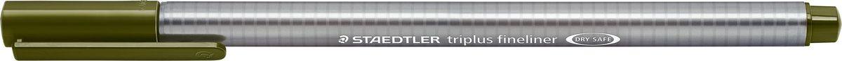 Staedtler Ручка капиллярная Triplus 334 0,3 мм цвет чернил зеленый оливковый334-57Капиллярная ручка с корпусом из полипропилена и эргономичной трехгранной формой для удобного и легкого письма. Пишущий узел завальцован в металл. Чернила на водной основе отстирываются с большинства тканей. Можно оставить без колпачка на 18 часов и не опасаться высыхания.