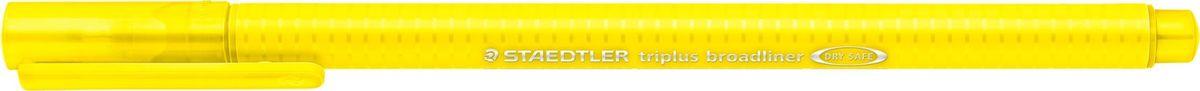 Staedtler Ручка капиллярная Triplus 338 0,8 мм цвет чернил желтый338-1Капиллярная ручка серии triplus broadliner 338, цвет - желтый. Толщина линии - 0,8 мм. Эргономичная трехгранная форма для удобного и легкого письма. Пишущий узел завальцован в металл. Защита от высыхания - может быть оставлен без колпачка на несколько дней (тест ISO). Чернила на водной основе. Отстирывается с большинства тканей. Корпус из полипропилена гарантирует долгий срок службы. Идеальна как для письма, так и для раскрашивания, рисования.