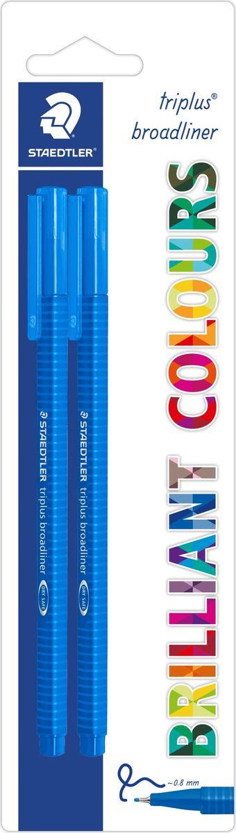 Staedtler Ручка капиллярная Triplus 338 0,8 мм цвет чернил синий 2 шт338-3BK2Набор трехгранных капиллярных ручек серии triplus broadliner 338, 2 ручки в упаковке синего цвета. Толщина линии - 0,8 мм. Серия - Яркие цвета. Блистер. Эргономичная форма для удобного и легкого письма. Пишущий узел завальцован в металл. Защита от высыхания - может быть оставлен без колпачка на несколько дней (тест ISO). Чернила на водной основе. Отстирываются с большинства тканей. Корпус из полипропилена гарантирует долгий срок службы. Идеальны как для письма, так и для раскрашивания, рисования.