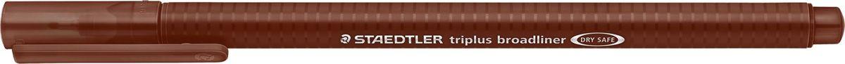 Staedtler Ручка капиллярная Triplus 338 0,8 мм цвет чернил коричневый338-76Капиллярная ручка серии triplus broadliner 338, цвет - коричневый. Толщина линии - 0,8 мм. Эргономичная трехгранная форма для удобного и легкого письма. Пишущий узел завальцован в металл. Защита от высыхания - может быть оставлен без колпачка на несколько дней (тест ISO). Чернила на водной основе. Отстирывается с большинства тканей. Корпус из полипропилена гарантирует долгий срок службы. Идеальна как для письма, так и для раскрашивания, рисования.