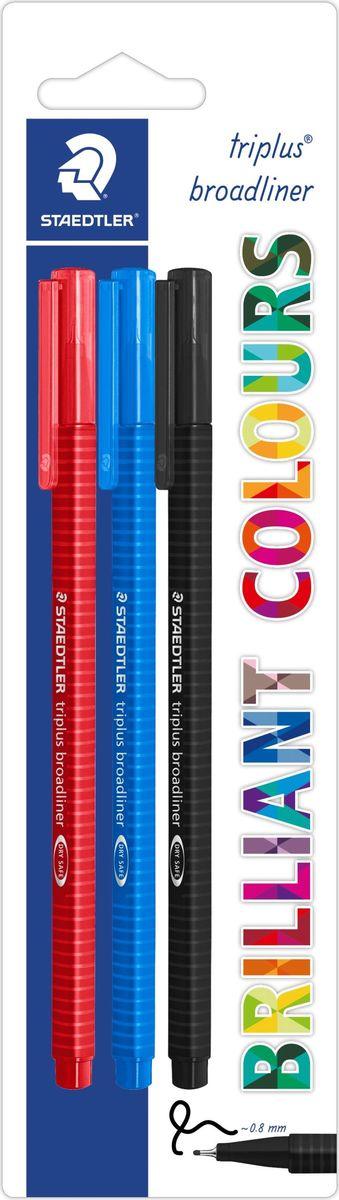 Staedtler Ручка капиллярная Triplus 338 0,8 мм цвет чернил синий красный черный 3 шт338-SBK3Набор трехгранных капиллярных ручек серии triplus broadliner 338, 3 ручки в упаковке синего, красного, черного цвета. Толщина линии - 0,8 мм. Блистер. Эргономичная форма для удобного и легкого письма. Пишущий узел завальцован в металл. Защита от высыхания - может быть оставлен без колпачка на несколько дней (тест ISO). Чернила на водной основе. Отстирываются с большинства тканей. Корпус из полипропилена гарантирует долгий срок службы. Идеальны как для письма, так и для раскрашивания, рисования.