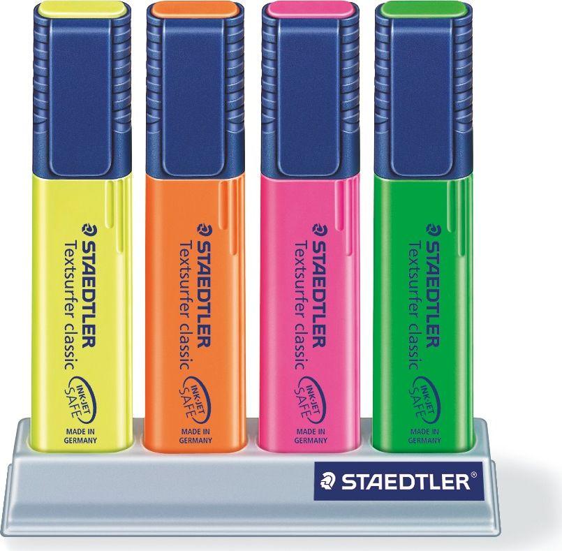 Staedtler Маркер Classic 1-5 мм цвет чернил желтый оранжевый розовый зеленый 4 шт364SC4Набор текстовыделителей textsurfer classic 364. 4 цвета на платформе-подставке (розовый, оранжевый, желтый, зеленый). Скошенный пишущий узел, диаметр 1-5 мм. Ультрамягкая кисточка. Большой объем чернил для экстра долгой службы. Быстро высыхает, слабый запах. Безопасно для струйных принтеров - не смазывает распечатки и написанный текст. Подходит для копирования, для работы на бумаге, факсовой бумаге и копиях. Повернуть колпачок для легкого открывания. Корпус и колпачок из полипропилена гарантируют долгий срок службы. Безопасно для самолетов - автоматическое выравнивание давления предотвращает от вытекания чернил на борту самолета.