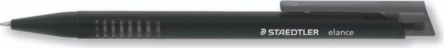 Staedtler Ручка шариковая Elance 0,5 мм цвет чернил черный42115-9Автоматическая шариковая ручка со сменным стержнем. Нескользящая зона захвата. Металлический наконечник и нажимная кнопка. Несмываемые чернила соответсвуют стандарту ISO 12757-2. Безопасно для самолетов- автоматическое выравнивание давления предотвращает от вытекания чернил на борту самолета. Толщина линии М - 0,5 мм. Цвет чернил - черный.