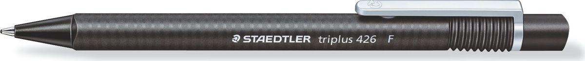 Staedtler Ручка шариковая Triplus 0,3 мм цвет чернил черный426F-9Автоматическая шариковая ручка с эргономичной трехгранной формой для удобного и легкого письма. Нескользящий прорезиненный корпус. Цвет корпуса соответствует цвету чернил. Безопасно использовать в самолете - автоматическое выравнивание давления предотвращает утечку чернил на борту самолета. Толщина линии F - 0,3 мм.