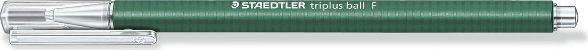 Staedtler Ручка шариковая Triplus Ball 0,3 мм цвет чернил зеленый431F-5Шариковая ручка с эргономичной формой для удобного и легкого письма. Нескользящий прорезиненный корпус, металлический наконечник и отвинчивающаяся торцевая часть. Заменяется стандартными стержнями толщины F.Безопасно для самолетов - автоматическое выравнивание давления предотвращает от вытекания чернил на борту самолета.