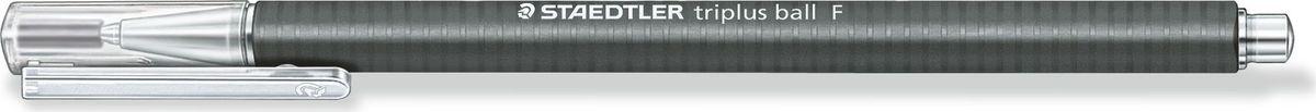 Staedtler Ручка шариковая Triplus Ball 0,3 мм цвет чернил черный431F-9Шариковая ручка с эргономичной формой для удобного и легкого письма. Нескользящий прорезиненный корпус, металлический наконечник и отвинчивающаяся торцевая часть. Заменяется стандартными стержнями толщины F.Безопасно для самолетов - автоматическое выравнивание давления предотвращает от вытекания чернил на борту самолета.