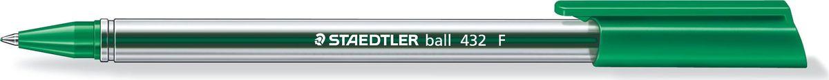 Staedtler Ручка шариковая Ball 0,3 мм цвет чернил зеленый432F-5Трехгранная шариковая ручка серии ball 432. Цвет зеленый. Эргономичная трехгранная форма для удобного и легкого письма. Очень гладкое письмо. Прозрачный корпус. Колпачок, пишущий узел и торцевая часть соответствует цвету чернил. Несмываемые чернила. Безопасно использовать в самолете - автоматическое выравнивание давления предотвращает вытекание чернил на борту самолета. Толщина линии F - 0,3 мм.