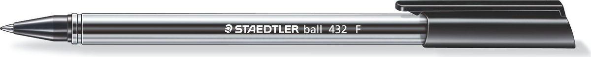 Staedtler Ручка шариковая Ball 0,3 мм цвет чернил черный432F-9Трехгранная шариковая ручка серии ball 432. Цвет черный. Эргономичная трехгранная форма для удобного и легкого письма. Очень гладкое письмо. Прозрачный корпус. Колпачок, пишущий узел и торцевая часть соответствует цвету чернил. Несмываемые чернила. Безопасно использовать в самолете - автоматическое выравнивание давления предотвращает вытекание чернил на борту самолета. Толщина линии F - 0,3 мм.