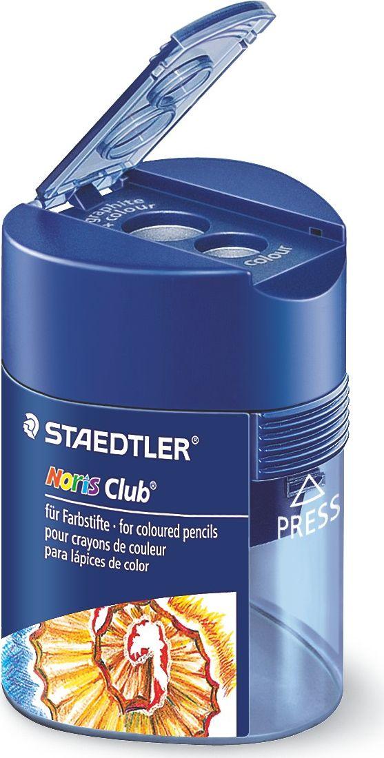 Staedtler Точилка Noris 2 гнезда цвет синий512128Точилка для карандашей хорошо точит цветные и простые карандаши. Она пригодится любому студенту, школьнику или офисному работнику. Точилка оснащена двумя отверстиями и не повреждает поверхность карандашапри заточке.