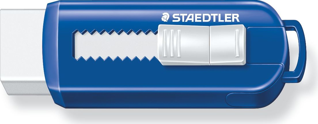 Staedtler Ластик 525 PS цвет синий белый525PS1Уникальный дизайн ластика 525PS со скользящей пластиковой манжеткой. Синий цвет пластикового корпуса. Не содержит ПВХ, а также фталата и латекса. Минимальное количество крошек. Удобство в использовании благодаря выдвижному механизму.
