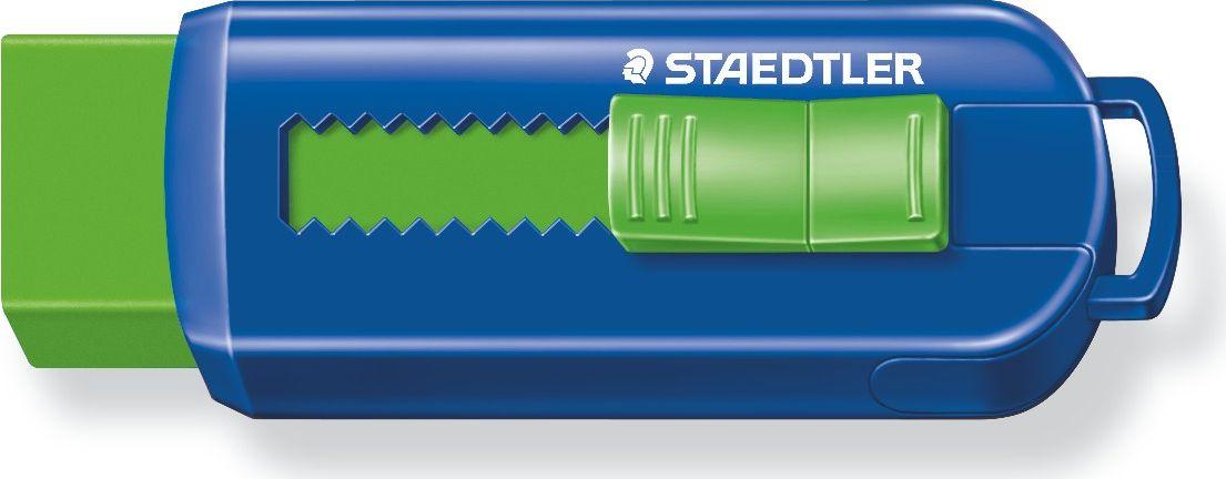 Staedtler Ластик 525 PS525PS1S_зеленый, синийУникальный дизайн ластика со скользящей пластиковой манжеткой. Не содержит ПВХ, а также фталата и латекса. Минимальное количество крошек. Удобство в использовании благодаря выдвижному механизму.