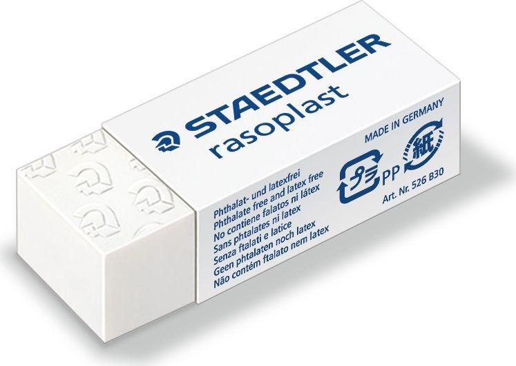 Staedtler Ластик Rasoplast B30 цвет белый526B3002Ластик rasoplast 526 B белого цвета, размер 43x19x13 мм. Комфортное и высококачественое стирание. Минимальное количество крошек. Упакован в защитную целофановую пленку с практичной отрывной лентой. Скользящая манжетка для удобного держания.