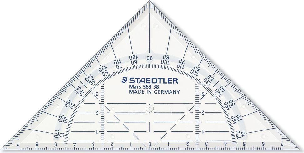 Staedtler Треугольник Mars 568 16 см56838Геометрический треугольник Mars 568. Прозрачный. Длина 22 см. Четкая нестираемая разметка делает работу с инструментом особенно удобной. Треугольник обладает особой прочностью, защищающей его от поломки в сумке, при падении и в других ситуациях.