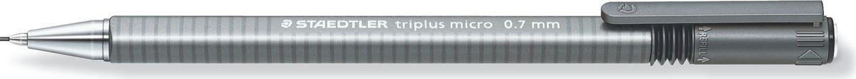 Staedtler Карандаш механический Triplus 0,7 мм цвет корпуса серебро77427Механический карандаш трехгранной эргономичной формы для удобного и легкого письма. Твердость грифеля - B (мягкий). Хромированный металлический пишущий узел. Безопасно для ношения в кармане благодаря убираемому грифелю. Наличие амортизирующего крепления грифеля является дополнительной защитой от поломки грифеля. Экстра длинный выкручивающийся ластик без ПВХ и латекса.